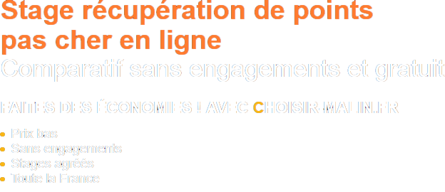Comparateur Programme d'un stage de récupération de points
