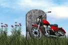 Un motard enterré... avec sa moto !
